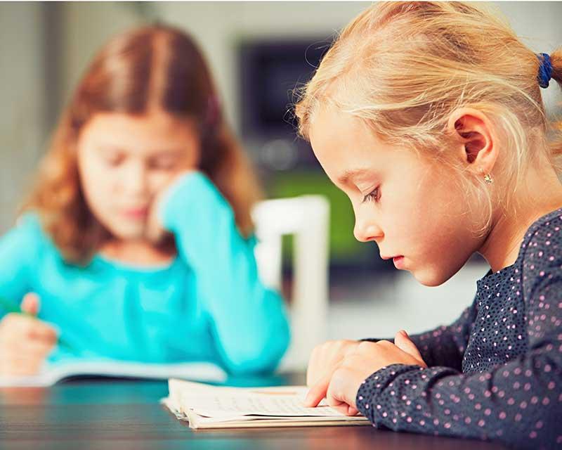 Schoolage Children Doing Homework